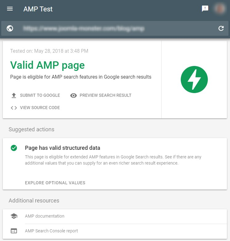Validate AMP for Google Search