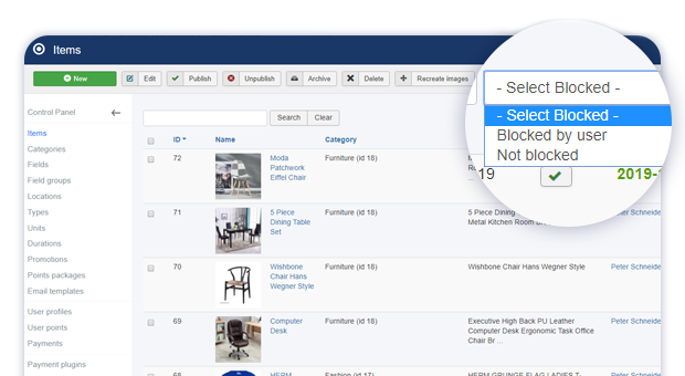 added blocked admin items filter 1