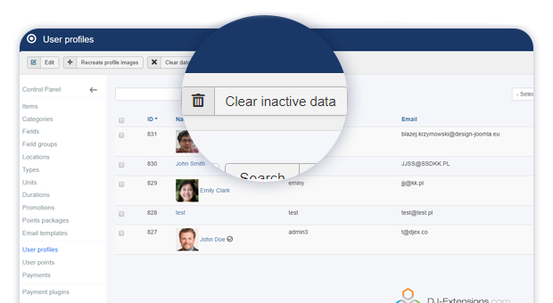 admin button for clearing inactive profile data 1