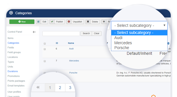 admin categories pagination and new subcategory filter 1