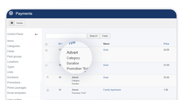 advert payment details in admin payments view 1