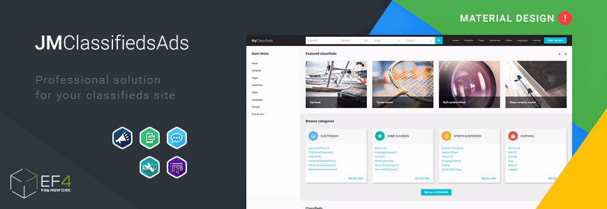 Material design Joomla classifieds template