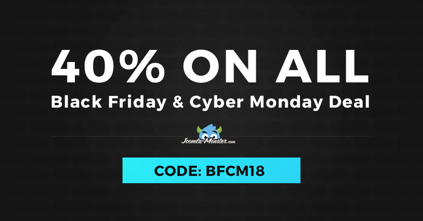 Black Friday and Cyber Monday 2018 discount on Joomla templates