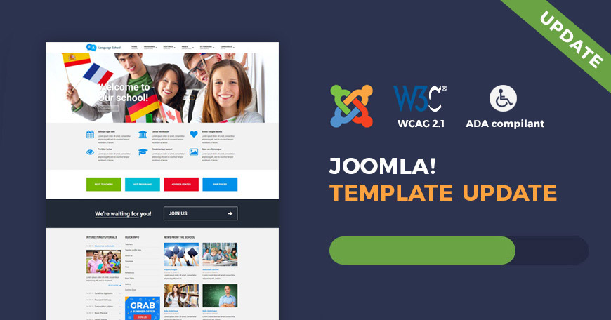 Education - WCAG and ADA Joomla template updated.