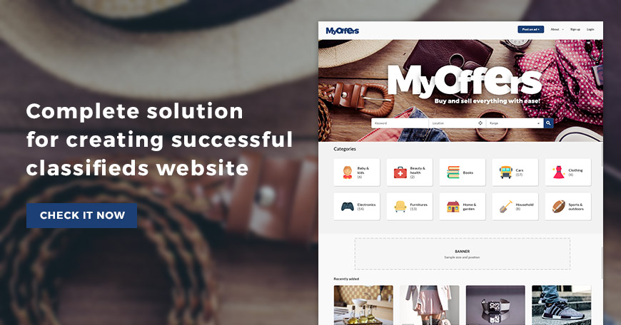 Create classifieds website with MyOffers classifieds Joomla template.