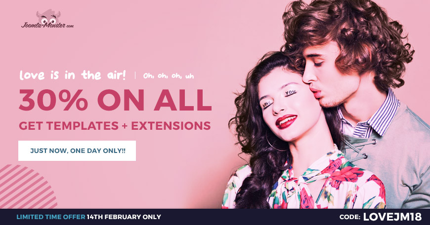valentines Joomla templates coupon