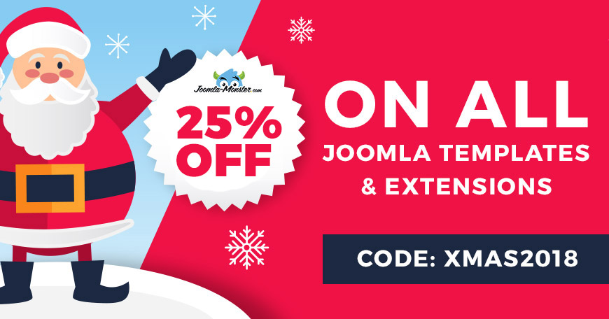 2018 Christmas discount on Joomla templates and extensions.
