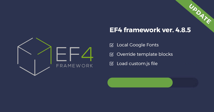 EF4 Joomla framework updated! Check what's new in EF4 4.8.5 version.