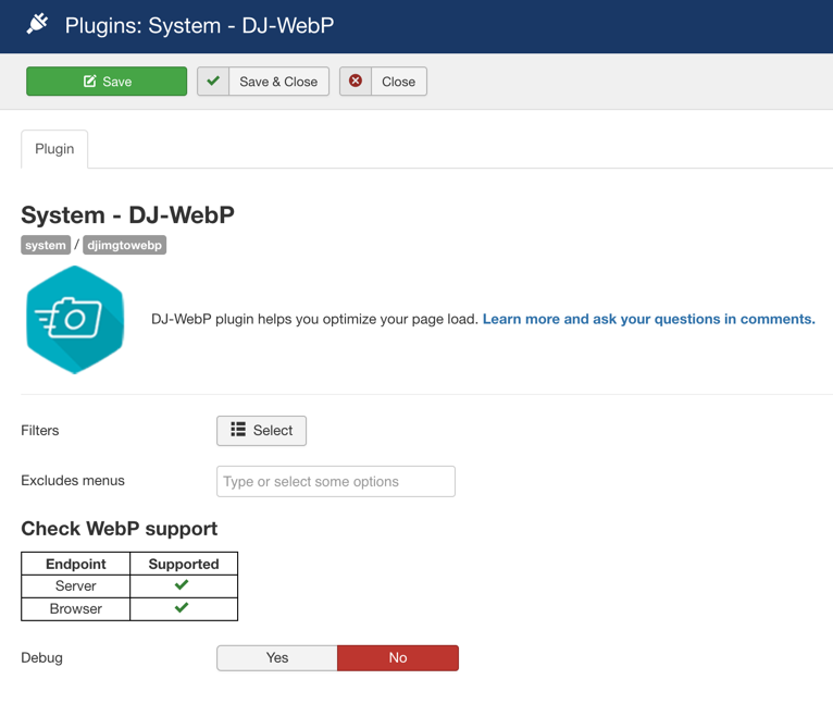 dj webp system settings