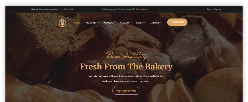 One-page eCommerce solution for a restaurant, bakery, pizza