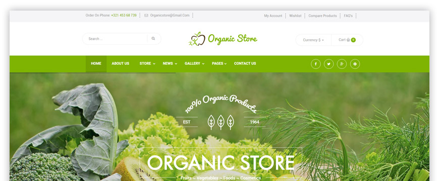 eCommerce website template related to organic products