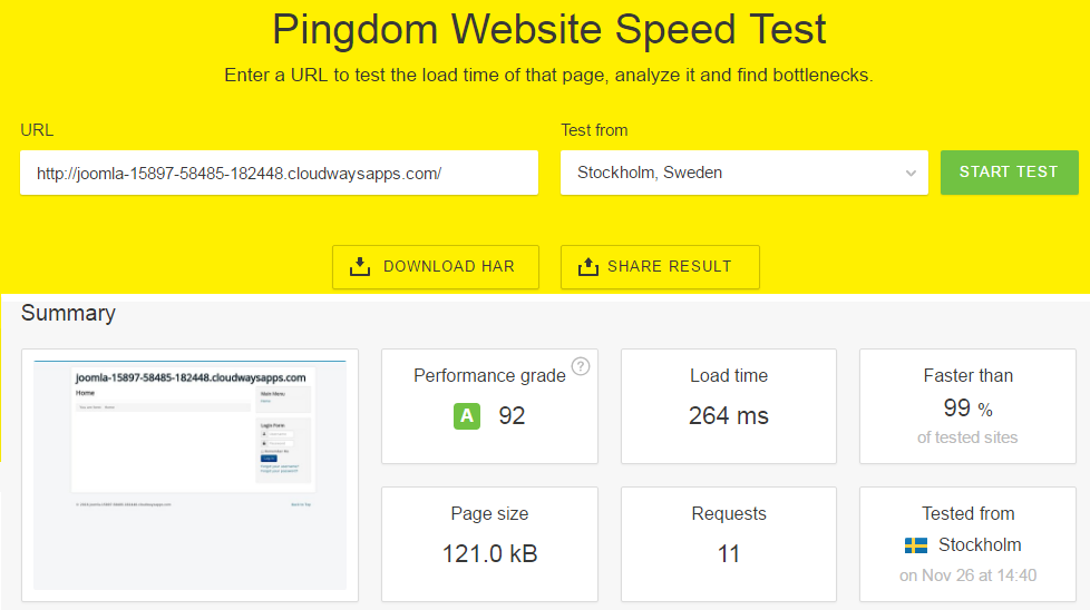 Speed Test Joomla on Cloudways
