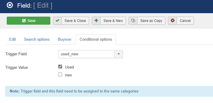 New conditional fields option