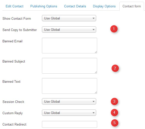 contact form configuration in Joomla