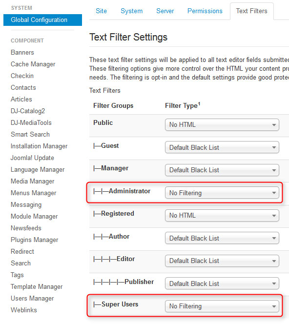 Text Filter settings Joomla 3