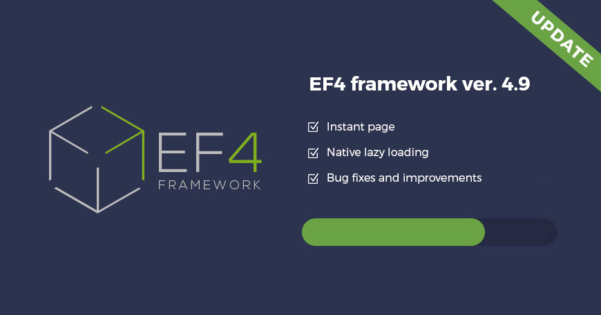 EF4 Joomla framework updated! Check what's new in EF4 4.9 version.