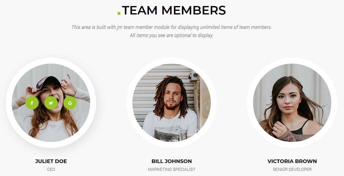 Team members simple Joomla module