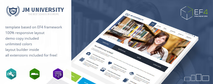 JM University - multipurpose Joomla 3 template for schools and universities