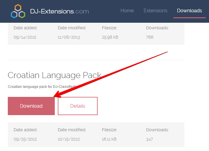 Install extension language