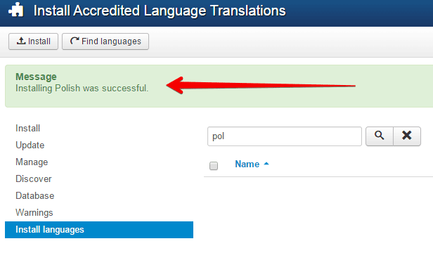 successful language installation