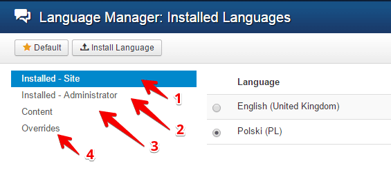 Language configuration