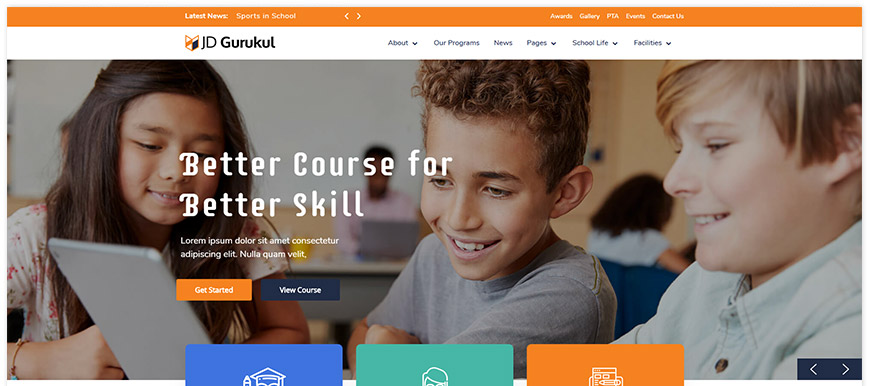 JD Gurukul - school Joomla template with the events calendar