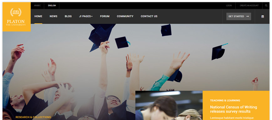 JA Platon - a responsive Joomla template purposed for schools, universities, and colleges
