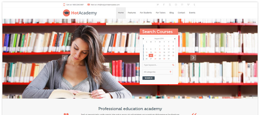 Academy - a Joomla education template that can be used for any kind of educational websites