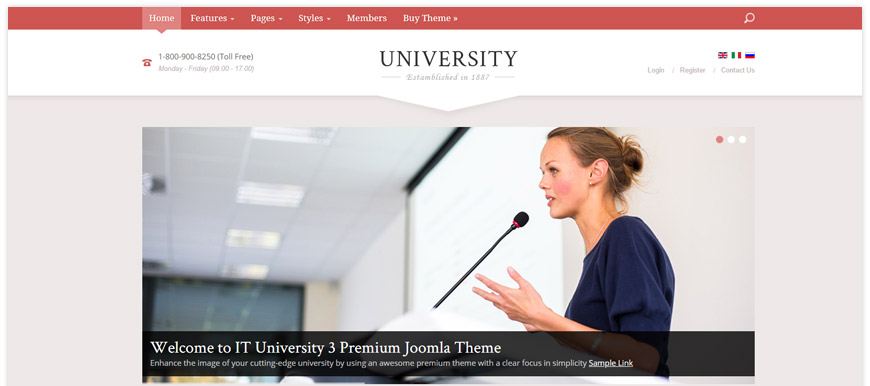 IT University 3 - a premium Joomla template for university or any educational institution