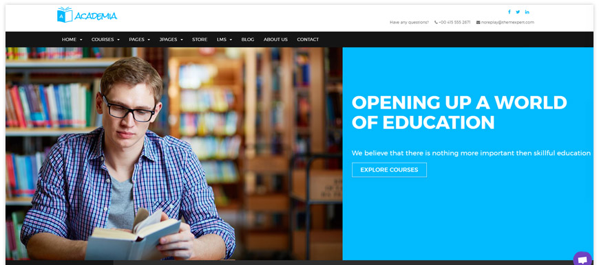 Academia - a stunning responsive educational Joomla template that fits perfectly for schools, colleges and language centers