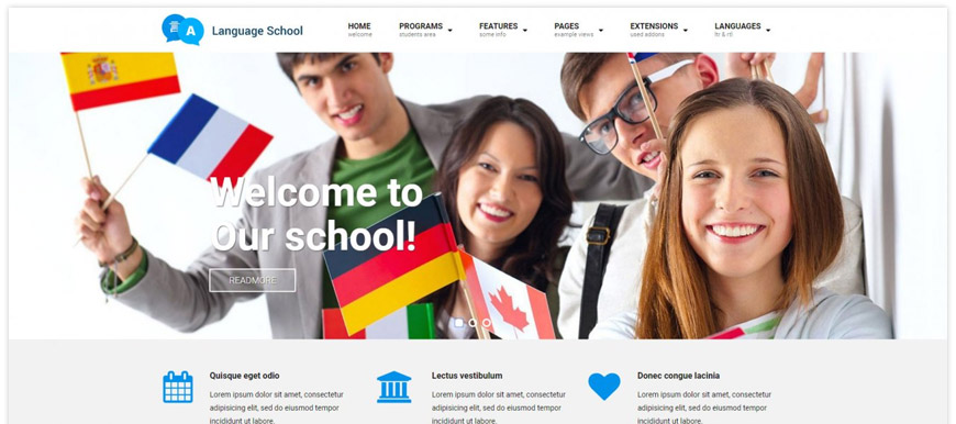 best school website template with Joomla CMS with WCAG ADA compliance