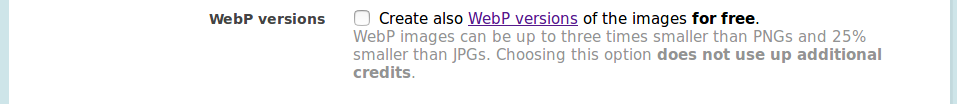 joomla settings webp