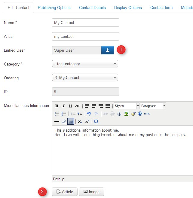 Joomla Contact Form Configuration