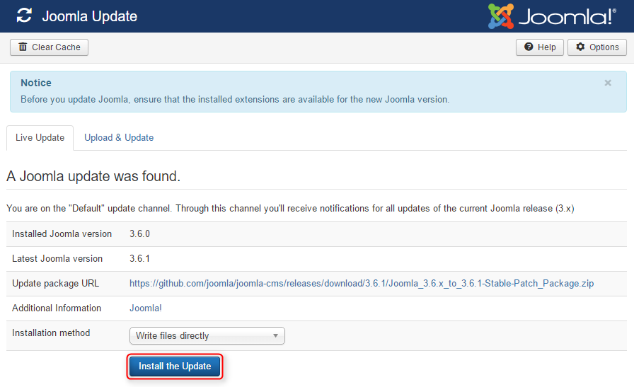 Updating joomla to 1 5