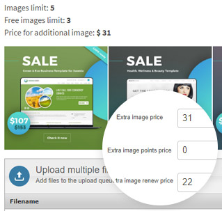 Charge for adding extra images on classifieds website
