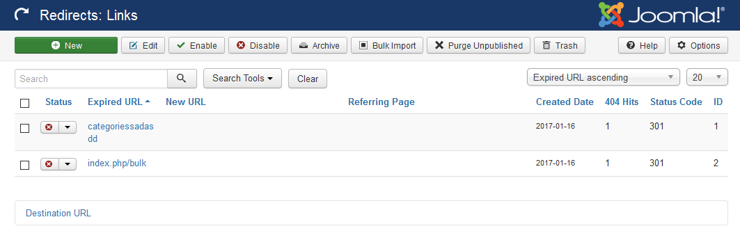Joomla Redirects component