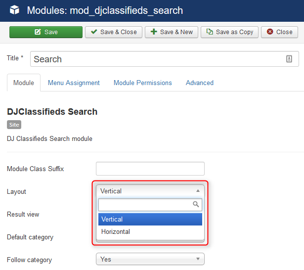 How to configure search module in DJ Classifieds?