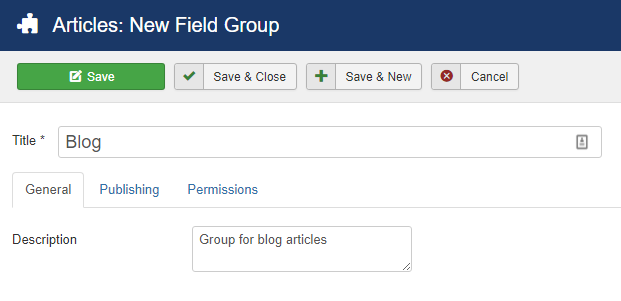 create a group for your custom fields in Joomla