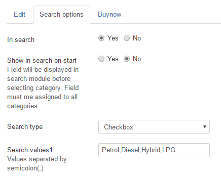 search options for joomla classifieds
