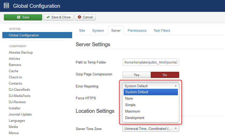 Joomla error reporting