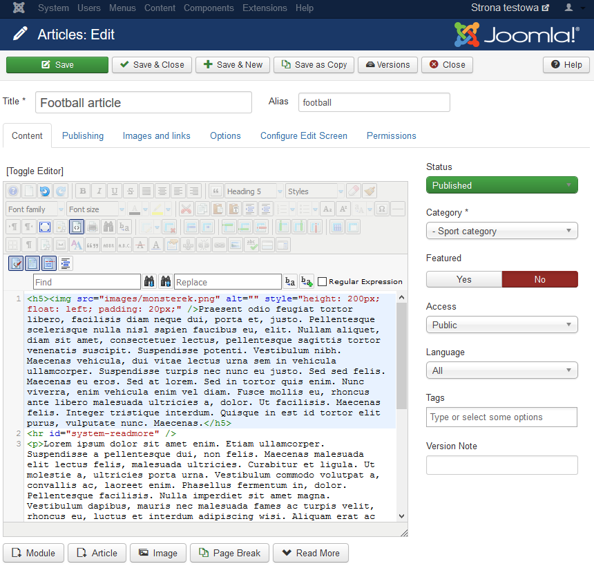 How to use Joomla text editors?