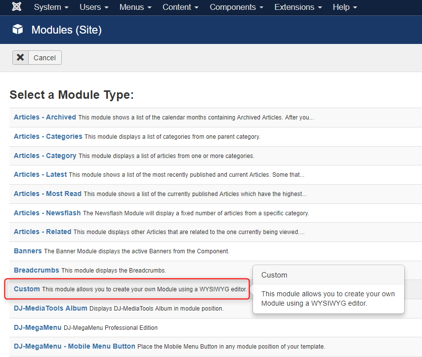 create new custom joomla module