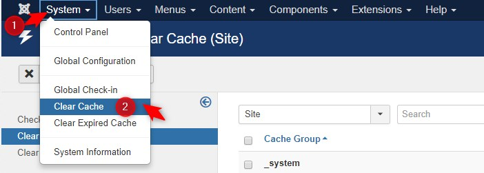 how to delete joomla cache