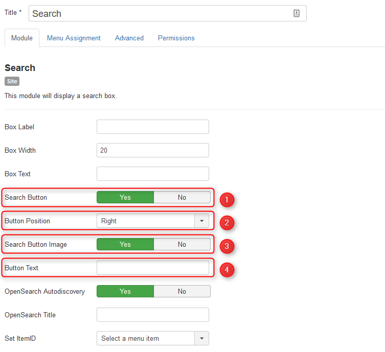 image button search button in Joomla