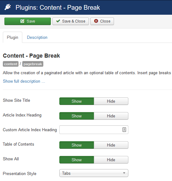 How to paginate your article using tabs, slides or pages in Joomla?