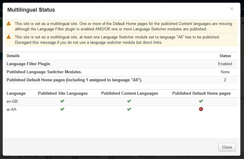Multilanguage status - incorrect configuration detected.