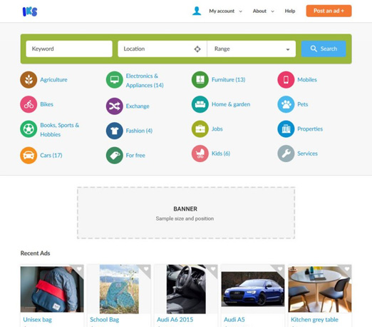 IKS - classifieds software with website template like OLX