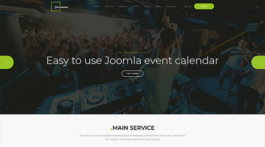 events Joomla template and events calendar