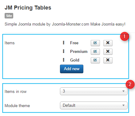 pricing tables joomla module conf