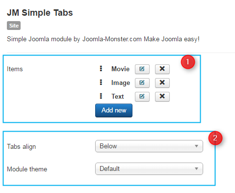 simple tabs for joomla conf